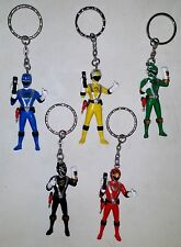 "Red, Black, Blue, Yellow, Green Power Ranger Five - 2.5"" mini-figure keychains"