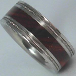 Exotic Cocobolo Wood Band Titanium Ring 8mm Mens - Ladies Wedding Bands Milgrain