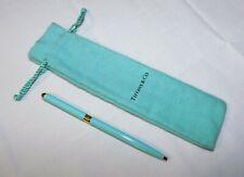 Authentic Tiffany & Co. Blue Enamel w/Gold Trim Retractable Ballpoint Pen