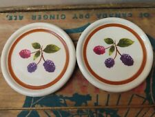 2 Longaberger Pottery Fruit Medley Set of Coaster Coasters Black Berry Berries