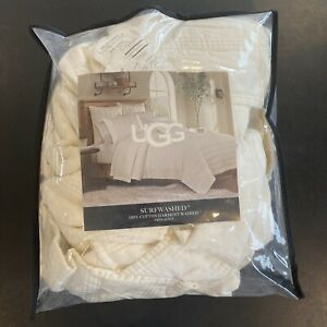 New UGG Surfwashed Twin Quilt in White 100% Cotton Soft Washed 68x86 in