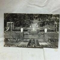 Vtg RPPC Postcard  Garden and Terrace Scene Kellogg Estate Gull Lake Michigan
