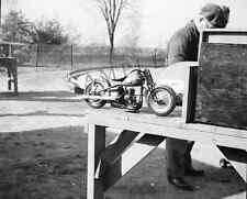 "Tether Slot Car Motorcycle on Table 1940's Ohio 8""x 10"" Racing Photo 128"
