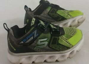 Skechers S Lights Toddler Boys Shoes Size 8 Light Up Green Z-Strap - MINT