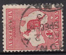 Kangaroo stamp Australia 1d red die 1 watermark sideways pointing right 1913