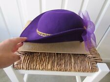One Size Vintage Hat Purple Lace Bow 100% Wool Gold-like Chain Folded Brim Women