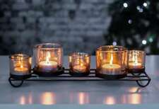 5pc Tealight Holder & Tealights Glass Metal Candle Holder Table Centrepiece Xmas