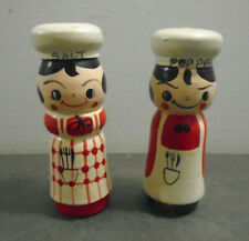 VINTAGE WOOD CHEF SALT AND PEPPER SHAKERS SET KOREA