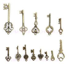 Lot Vintage 13 Antique Old Look Bronze Tone Pendants Jewelry Mix Skeleton Keys