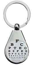 OPTICIAN EYE CHART  CHROME POLISHED KEYRING PEAR STYLE SHAPE