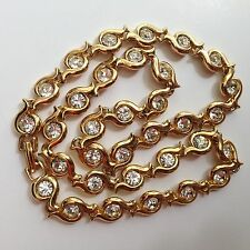 """GORGEOUS! Gold Plated  With Swarowski Crystals  Necklace looks NEW 18,5"""""""