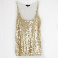 Express XS Tank Top Gold Womens Sequin Scoop Neck Tank Top Size Extra Small