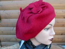 Femmes Bonnet en Laine Béret Basque de Mc Burn Rouge avec Applications Chapeaux