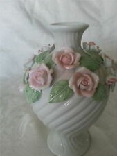 Vtg White Porcelain Glazed Vase with Lovely Pink Roses by Ost