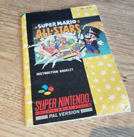 Super Mario All Stars SNES Super Nintendo Manual Instruction Booklet PAL
