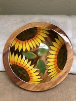 """Handcrafted Sunflower Painted 8"""" Wooden Salad Bowl Artist Signed EXC"""
