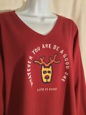 NWT Womens LIFE IS GOOD Size XL Red *BE A GOOD ONE* Long Sleeves Vee T-Shirt TEE