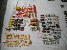 110+ piece vintage plastic farm animals farmers equipment Hollow belly MPC? HK