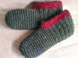 Crochet men`s wool slippers /Eco-friendly green socks /Size USA 11-12, shoes