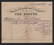 Halle/Saale, factura 1888, Chr. Musche zapatos madera-holzpantoffel-fábrica