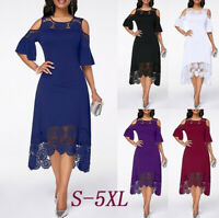 Fahion Womens Plus Size short Lace Sleeve Off Shoulder Home Party Office Dresses