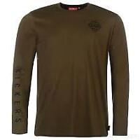 Kickers Mens Long Sleeve Logo tshirt khaki green print tee UK size L Large