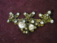 """HAND WIRED 2 1/2"""" Brooch FRONT w/ SEED & KESHI PEARLS & RHINESTONES, M. Haskell?"""