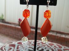 Yellow Bead Dangling Clip On Earrings Gorgeous Orange Sparkly with Orange & Pale