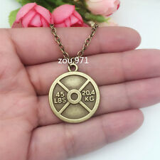 45 WEIGHT PLATE NECKLACE Charm Chain Fitness Weightlifting Gym crossfit !