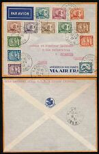 FRENCH INDOCHINA LANGSON 1937 MULTI FRANKING AIR FRANCE ENV...KY LUA to BESANCON