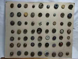 LOT- 63 Small Antique BUTTON- Enamel,MOP,Painted,METAL,Steel,Floral,Bird-aa