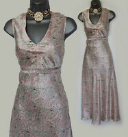 MONSOON Ivory Pink Print Silk V Neck Mid Length Cocktail Party Dress UK 12  EU40
