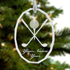 Glass Oval Ornament, Golf Clubs Golfer Ball, Personalized Engraving Included
