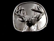 Buck Deer Antlers Rack Pewter Belt Buckle by KEV Made in USA 6514 Old New Stock