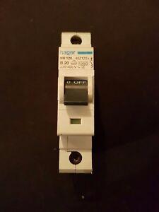 Hager NB 120  20A Type B Single Pole 10kA 230/400V MCB  * USED *