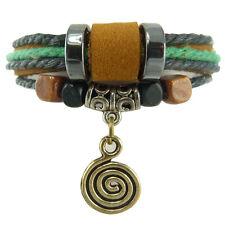 Bracelet femme homme réglable Cuir tourbillon métal doré noir vert marron tribal
