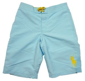 Polo Ralph Lauren Boys Hammond Blue Big Pony Solid Swim Trunks