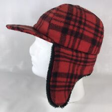 Red Plaid Wool Mackinaw Cap w// Ear Flaps Size 7-7//8 Langenberg NEWMade in USA
