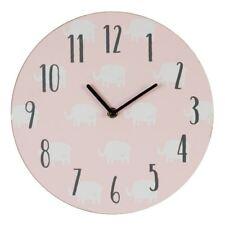 'Petit Cheri' Pink Nursery Wall Clock White Elephant Pattern