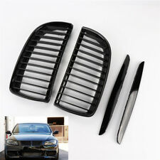 Pair Gloss Black Front Kidney Grilles Grill For BMW E90 E91 Saloon 4D 2005-2008