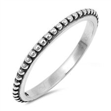 Thin Beaded Bali Stackable New 925 Sterling Silver Vintage Band Ring Sizes 3-13