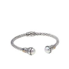 NWT Bali Designs Robert Manse Freshwater Pearl 2-Tone Braided Cuff Bracelet