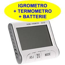 DESIGN IGROMETRO TERMOMETRO TEMPERATURA ALLARME UMIDITA OROLOGIO cm