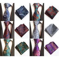 Mens Stylish Paisley Floral Tie Wedding Party Handkerchief Pocket Square Set NEW