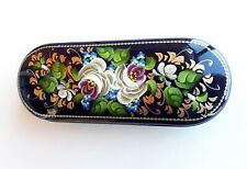 Floral eyeglass case green white gold colors russian glasses case hand painted