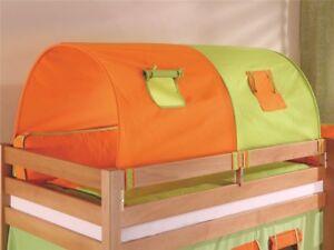 2er Tunnel  für Hochbett Spielbett Etagenbett in grün orange Halterungen Natur