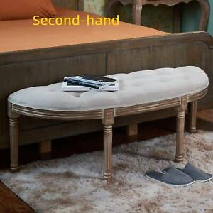 Secondhand Half Moon Upholstered Bench Vintage French Bench Chair for Bedroom