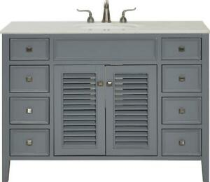 BATHROOM VANITY SINK CHEST CONTEMPORARY SINGLE GRAY BRUSHED STEEL BLACK SO
