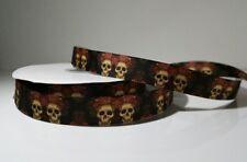 Ripsband Skulls Roses 23mm