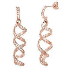 Chandelier Dangle Earrings 925/Ss 35Mm Pave 14K Rose Vermeil Spiral